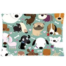 CHARMHOME Cartoon Dog Pet Puppy Paw Print Pillow Cover Rectangle Custom Zippered Bed Pillow Cases 20x30inch one side(China)