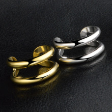 New Store stainless Steel Simple personality two layer opening rings women/MEN gold/ silver jewelry female anel adjustable size