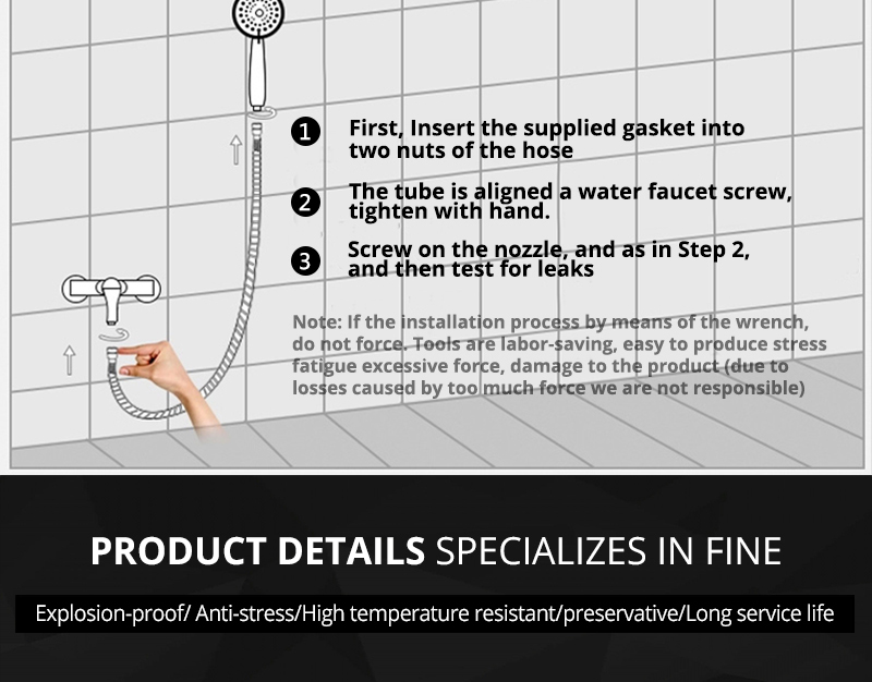 DCAN Plumbing Hoses Stainless Steel Black Shower Hose 1.5m Plumbing Hose Bath Products Bathroom Accessories Shower TubingHoses (9)