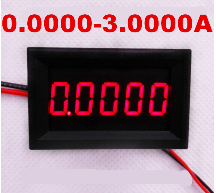Red LCD digital Gauge Amperemeter meter DC 0.0000-3.0000A Current Panel Amp tester Ammeters 50%off(China (Mainland))