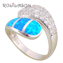 ROLILASON Shining Zircon Design Wonderful Blue Fire Opal 925 Silver Gifts Fashion Jewelry Rings USA Size #6#7#8#9#10 OR873(China)