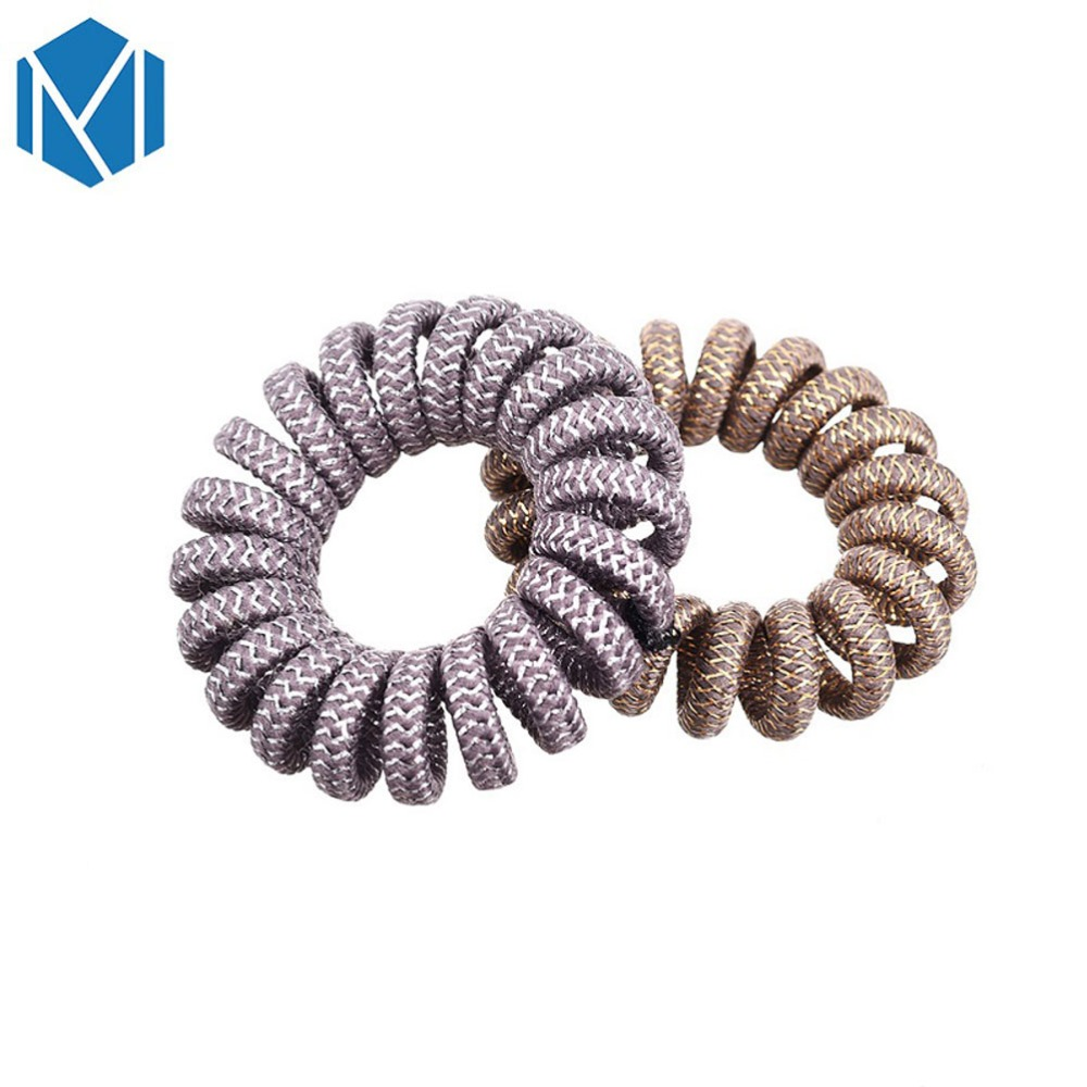 Metallic Colours Mixed 4 Pack Spiral Coil Wire Hair Bands//Bobbles 5cm