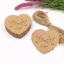 100PCS Love peace dove Paper Cards Wedding/Birthday Party Gift Tags Paper Packing Labels+100pcs Hemp Strings(China)