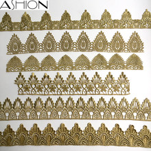 ASHION gold silver water soluble embroidery crown flower lace trim fabric islamic headscarf hair accessories(China)