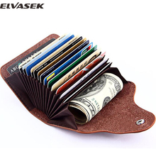 Elvasek 13 cards women men's genuine leather credit card holders cases wallet business card package high quality bolsas A40