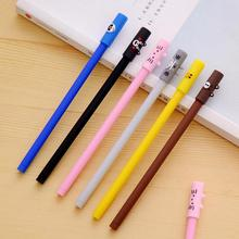 4Pcs Korea Creative Stationery 0.38mm Black Needle Ink Sign Pens Kawaii Cartoon Animals Gel Pens For School Office Supplies(China)