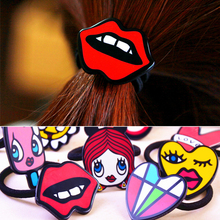Hot Sale 5pcs/lot Cute Graffiti Lips Candy Elastic Bands Flower Women Headband Hair Accessories Headdress Rubber Band Hair Rope(China)