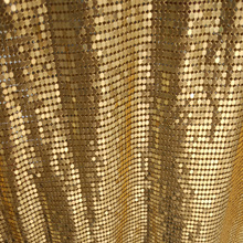 3pcs  150*45 cm Gold color Metal mesh,metallic fabric,metal sequins for apparel,fashion jewelry