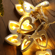 Battery Powered 10 LED Wooden Heart Shape String light Garden Birthday Event Party Christmas Decoration Xmas String Fairy Light