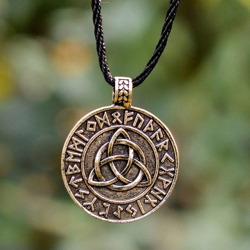 QIHE-JEWELRY-Viking-necklace-Circle-trinity-pendant-necklace-Valknut-necklace-Viking-norse-rune-jewelry-Gift-for