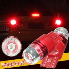 New 1 Pair Car 12V 7440 7443 Red Tail Rear Strobe Flashing Brake Stop Light Bulb Lamp