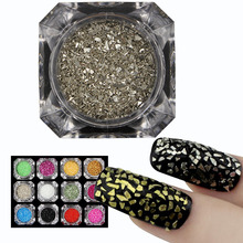 Factory price Sales 12 Colors Glass Shards Nail Glitter Art Pigment Paint Mirror Flake Sequin Polish Chrome Nail Glitter Powder(China)