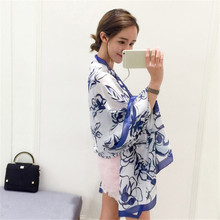 Spring Summer Womans Scarf New Style Hot Flower Leaves Print Beach Oversize Pashmina Natural Satin Silk Long Shawl Black Wrap