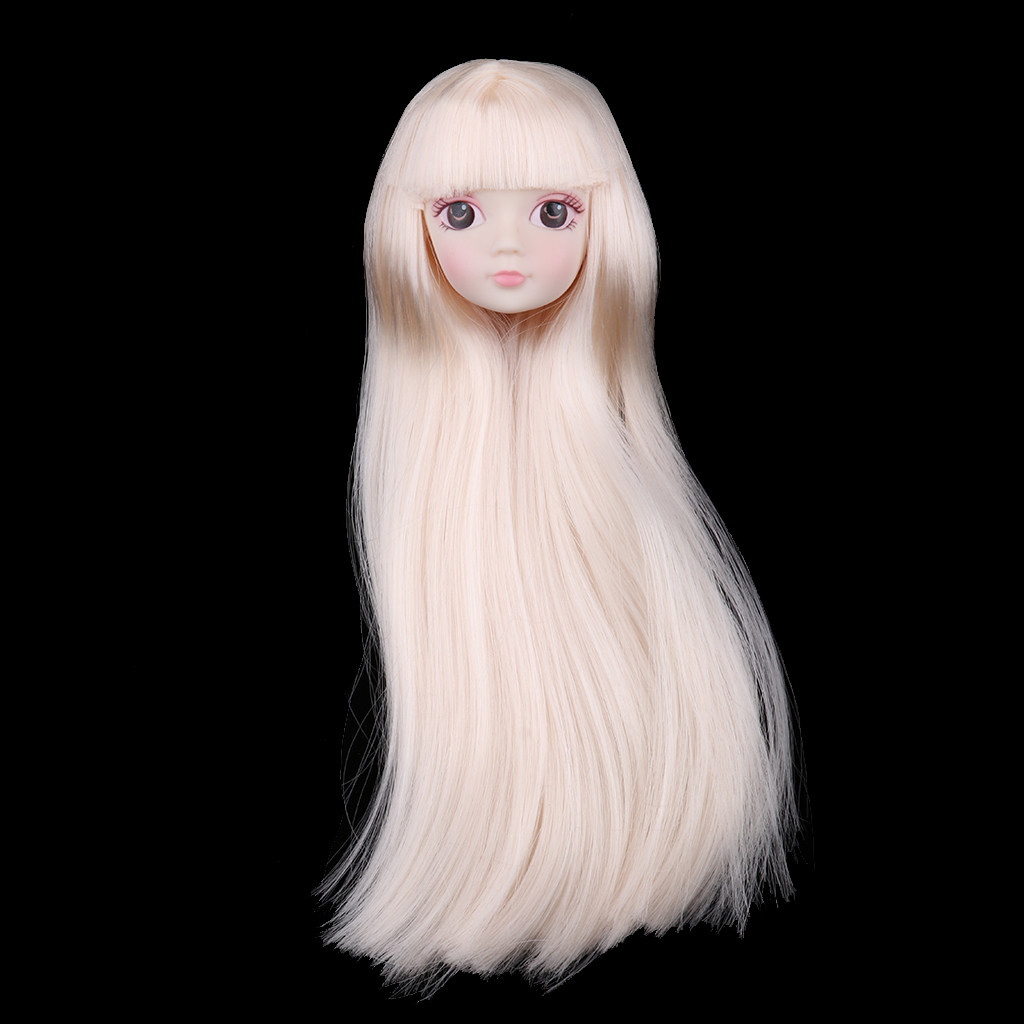1//4 BJD Head Sculpt with Light Gold Hair Doll Replacement Body Part Decor