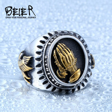 Beier new store 316L Stainless Steel ring top quality Blessed Virgin Mary pray hand ring lucky power fashion jewelry BR8-267