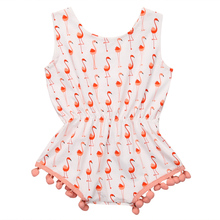 Cute Newborn Baby Girl Romper 2017 Summer Sleeveless Swan Print Princess Girls Tassel Sunsuit Outfits One Pieces Cotton Clothes
