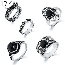 5 PCS Vintage Ring Sets Antique Alloy Nature Blue Stone Midi finger Rings for Women Steampunk Turkish Ring Anillos Dropship