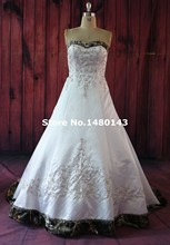 White/Ivory Camo Wedding Dresses 2016 Strapless Camouflage Bridal gown Modest capitao america Custom made with train