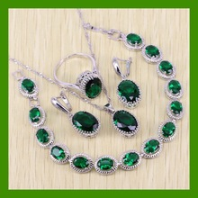 Reginababy Attractive Green created Emerald Bracelets Jewelry Sets For Women Silver color Earrings/Ring/Necklace/Pendant