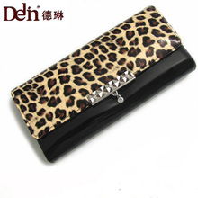 DELIN Wholesale trade paint leopard print wallet purse new lady han edition thirty percent zero wallet purse(China)