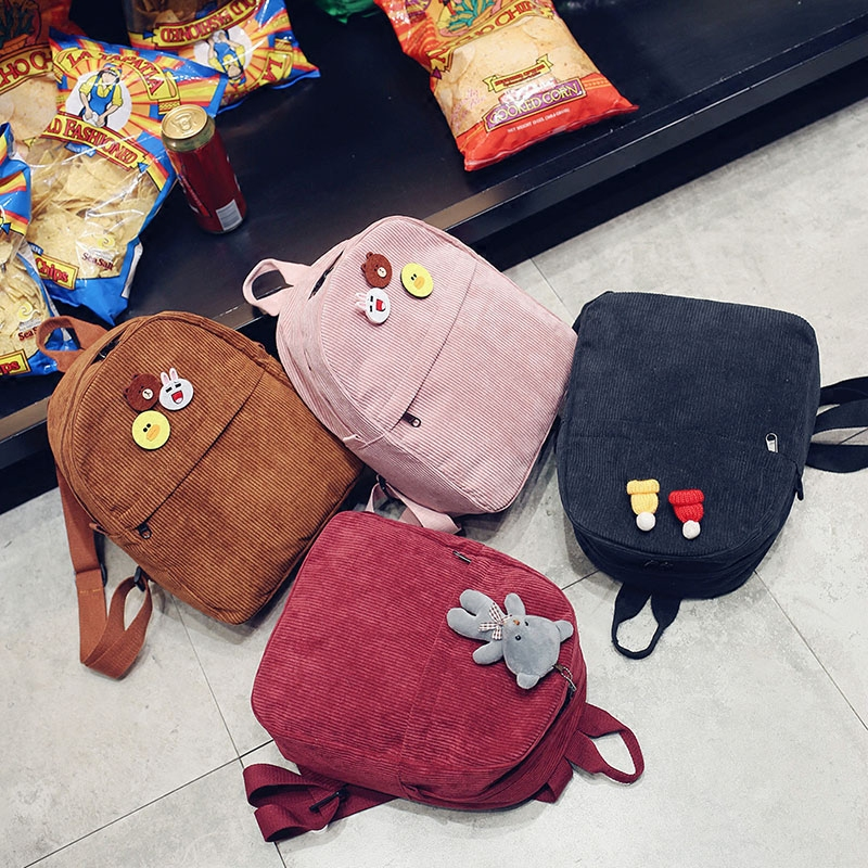 Small backpack 2017 Female Student Backpack simple all-match Mini Art corduroy bag<br><br>Aliexpress
