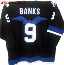 Top quality #9 MIGHTY DUCKS MOVIE JERSEY HAWKS ADAM BANKS jersey(China)