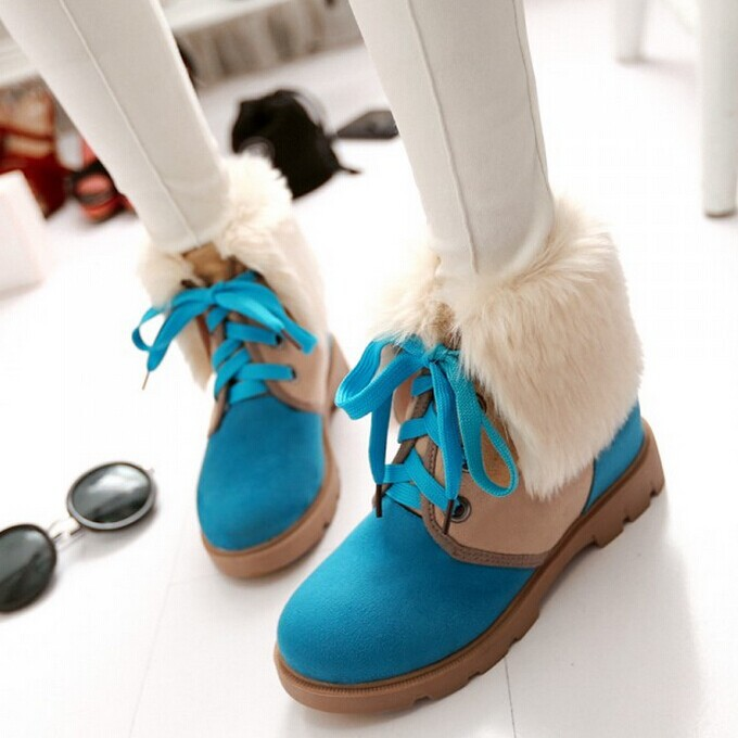 Winter Booties Women Fashion Faux Suede Flat shoes Lace-up Ankle Boots Drop Shipping Snow Boots<br><br>Aliexpress