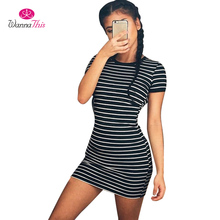 Buy WannaThis Summer Casual Striped Dress Women Sexy O-Neck Short Sleeve Vintage Bodycon T Shirt Dress Slim Skinny Fitness Vestidos for $9.06 in AliExpress store