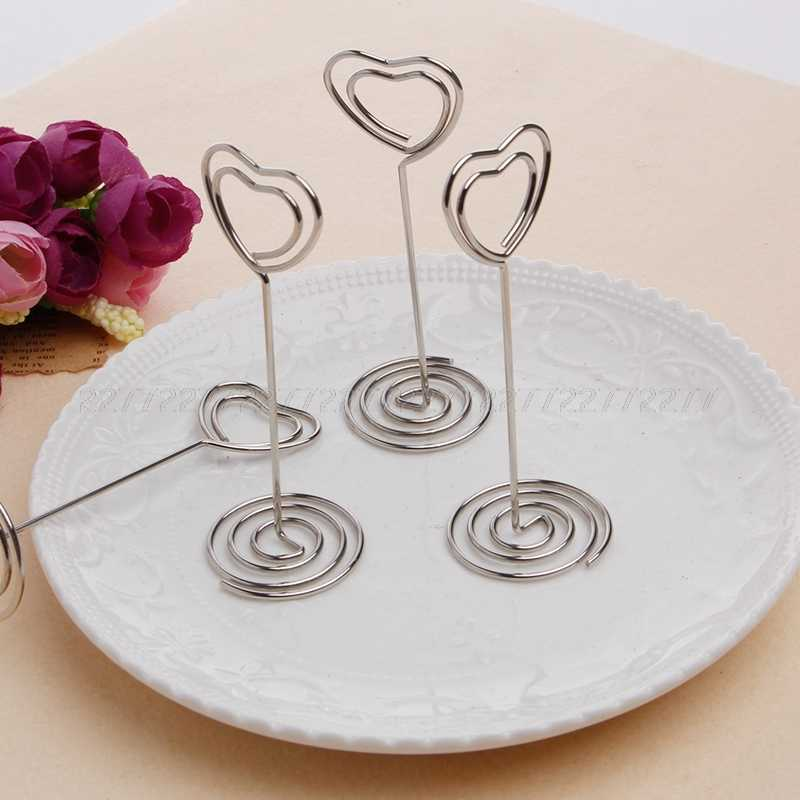 10Pcs/set Place Card Holder Heart Shape Clips Wedding Favors Place Card Holder Table Photo Memo Number Name Clips Base JUN26