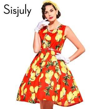 Sisjuly vintage d'été dress avec lemon imprimer parti femmes dress style 1950 s festa avec des ceintures sans manches vintage robes 2017