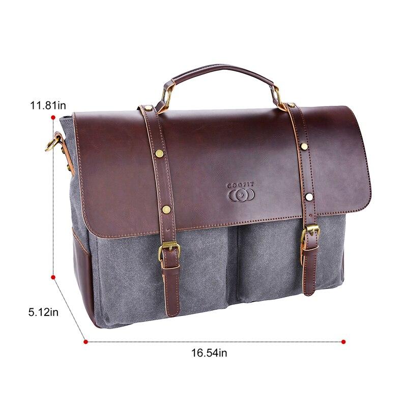 Coofit Men S Messenger Bags Canvas Briefcase Retro Multi Pocket ... 5e2d991507