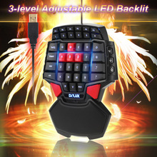 Delux T9 47-Key Professional One/Single Hand USB Wired Esport Gaming Keyboard with 3-level LED Backlit Illuminated Backlight