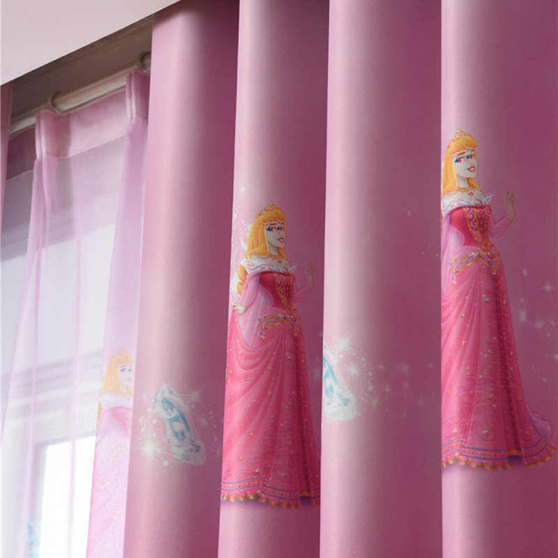 Princess Figure Blackout Curtains for Girl Bedroom Window Treatments Cartoon Tulle for Kids Room Cute Roman Blind