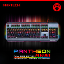 Original FANTECH MK881 Metal Mechanical Waterprof Gaming Keyboard 104 Keys LED Light Playtime Game Keyboard