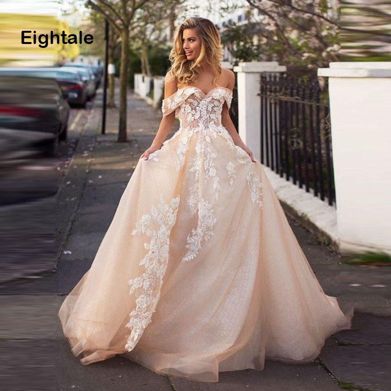 Eightale Boho Wedding Dresses 2019 Sweetheart Appliques Lace Off the Shoulder Backless Princess Wedding Gowns Dubai Bride Dress