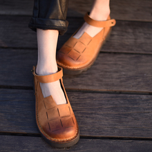 Artmu 2017 Retro Women Shoes,Handmade Leather Shoes Mary Jane Woman Roma Shoes,Slip-on Buckle Strap Female Shoe Genuine Leather