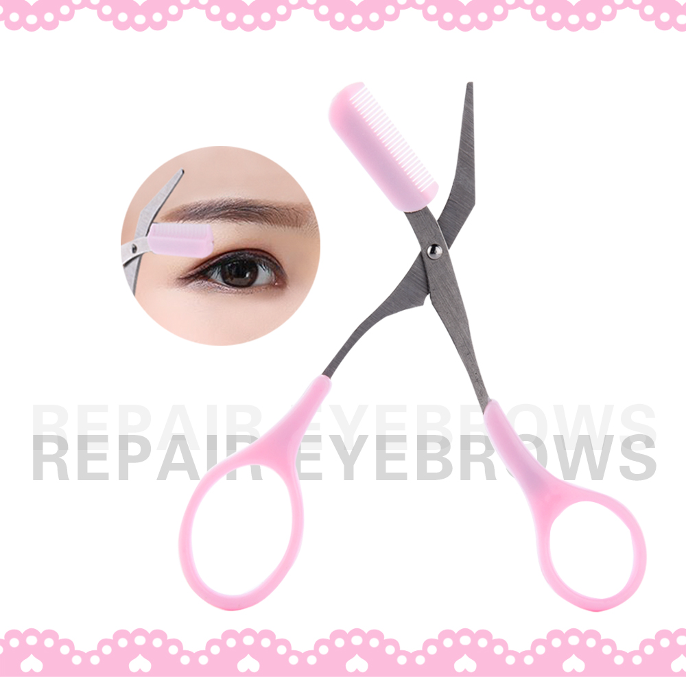 Girl Lady Pink Eyebrow Trimmer Eyelash Thinning Shaving Comb Eyelash Hair Clips Scissors Shaper Eyebrow Grooming Cosmetic Tool Comfortable And Easy To Wear Hand Tools