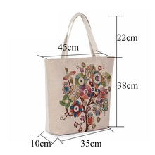 Fashion Mid Size Canvas Print Flower Tree Embroidery Casual Style Women Shopping Bag Shoulder Bag Artistic Creative Handbag