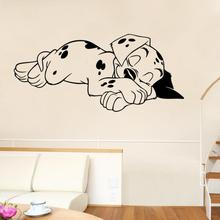 11.11 hot sale Sleeping Puppy Bedroom Wall Stickers Vinyl Home Wall Decor Decals For Living Room bedroom accessories 2017