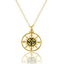 GORGEOUS TALE 2018 Charm kolye Stainless Steel Jewelry Vintage Compass Graduation Gift Gold Silver Women Circle Necklace BFF(China)