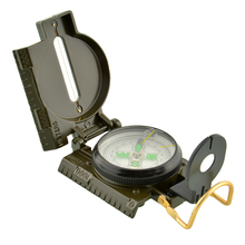Pocket Folding Military Survival Camping Sighting 360 Lensatic Compass w/Inclinometer 3 in 1 Pointer Pointing Guide Metal Green(China)