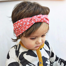 2017 New Design Colorful Headbands Elastic Cloth Hairband For Girls Dot Turban Knot Headband Baby Hair Accesories Free Shipping