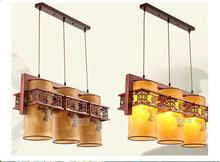 Chinese wooden chandelier three head Chinese restaurant new classical restaurant chandelier wooden sheepskin chandelier