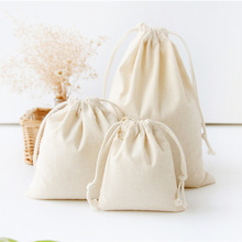 New Cotton Linen Gift Bag Travel Drawstring Storage Bags Sundries Small Beam Rope Pouches Handmade Candy Bag