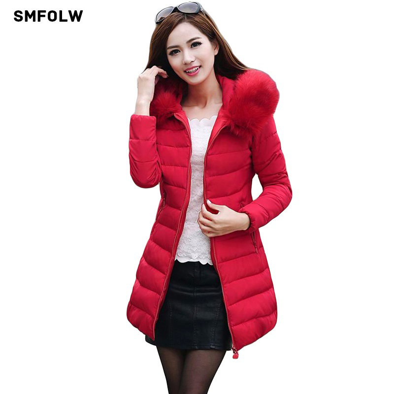 SMFOLW Long Womens Winter Jacket Women Parkas 2017 Female Faux Fur Collar Hooded Cotton Warm Coat For Women Anorak ManteauÎäåæäà è àêñåññóàðû<br><br>