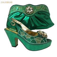 Dressing Green color fashion Women Pumps Italian Matching Shoe African Wedding Shoes and Bag Sets Shoe and Bag Set free ship