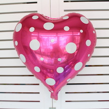 2 color Good quality 50pc/lot Heart shape white Pink Polka Dot printed foil balloons Valentines day Love party birthday supplier