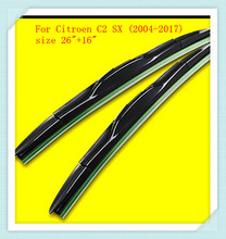"3 Section Rubber Windscreen Wipers For Citroen C2 SX (2004-2017),size 26""+16""(China)"