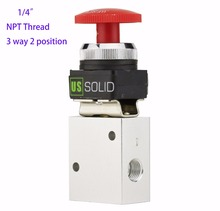 "U.S.Solid 1/4"" Red Latching Push Button 3 Way 2 Position Pneumatic Mechanical valve NPT Thread Aluminum Alloy"