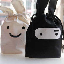 2pcs/lot New Fashion Creative Lovely Rabbit Shaped Ninja Pattern Storage Bag with Drawstring Black and White Collecting Bag(China)